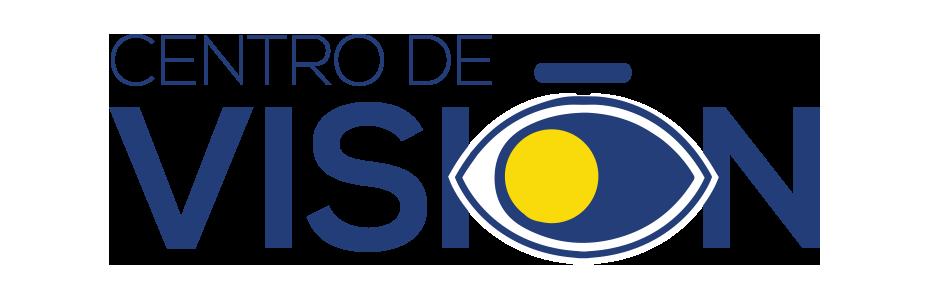 Logo Centro de Visión Texto que dice centro de visión donde la ultima O tiene forma de un ojo y la ceja es su tilde