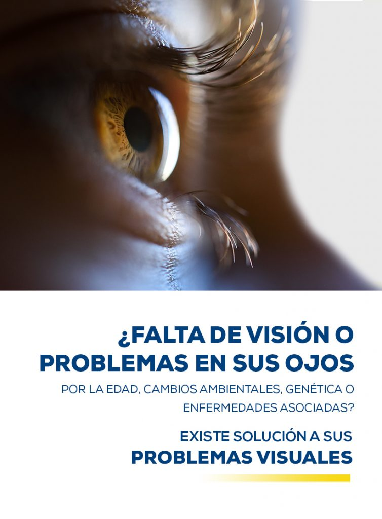 Imagen banner principal fotografía de un ojo con texto: ¿Falta de visión o problemas en sus ojos? Por la edad, cambios ambientales, genética o enfermedades asociadas. Existe solución a sus problemas visuales