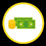 icono que representa dinero en efectivo, monedas y billetes