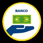 Icono que representa un deposito bancario mano sosteniendo un billete