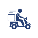 icono que representa el servicio a domicilio, persona manejando una moto